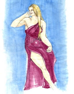 Sketch of a plus-size beauty, by John Galliano