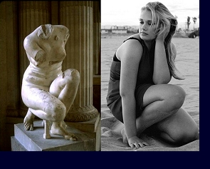 ''Crouching Aphorodite'' (3rd century B.C.) juxtaposed with a test photograph by Stanley Debas