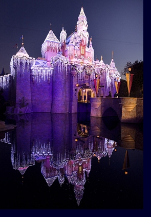 Sleeping Beauty's Winter Castle at night