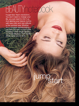 The breathtaking Shannon Marie (by far MODE's most gorgeous model) in ''Beauty Notebook'' editorial; January 2000 issue
