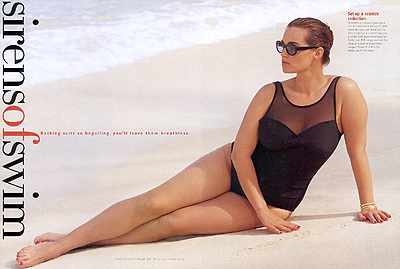 Barbara Brickner in MODE's greatest editorial,''Sirens of Swim'' (photographed by Michel Arnaud); June/July 1998 issue