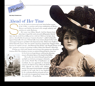 ''MODE Matters'' (monthly editorial column) discussing 19th-century beauty Lillian Russell;  October 1998 issue