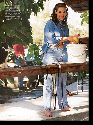 Barbara Brickner in ''Carribean Blues'' editorial (photographed by Michel Arnaud); April 1998 issue