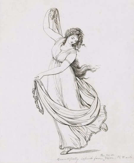 Rehberg, \'\'Emma, Lady Hamilton, in a classical pose, dancing and poised on her right foot,\'\' 1794