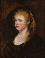 Portrait of a Woman with Curly Blonde Hair