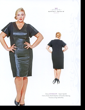 Kelsey Olson modelling the Evelyn dress, in the first-ever Queen Grace catalogue; click to enlarge.