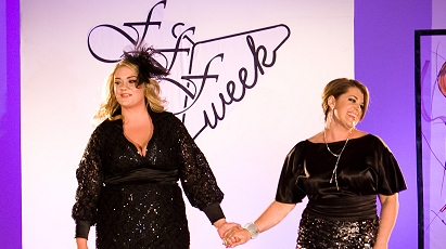 Kelsey Olson and designer Marina Zelner closing the Queen Grace show at FFFWeek 2011; click to enlarge.