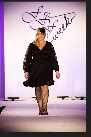 Katherine Roll walking the runway in the Queen Grace show at FFFWeek 2011; click to enlarge.
