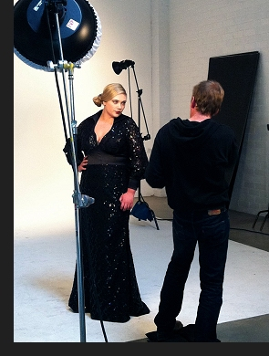 Kelsey Olson modelling the Mae dress in a behind-the-scenes photo from the first-ever Queen Grace photoshoot; click to enlarge.