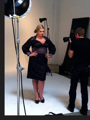 Kelsey Olson modelling the Zina dress, in a behind-the-scenes photo from the first-ever Queen Grace photoshoot; click to view catalogue page.