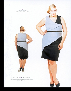 Kelsey Olson modelling the Elena dress, in the first-ever Queen Grace catalogue; click to enlarge.