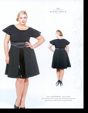 Kelsey Olson modelling the Victoria dress, in the first-ever Queen Grace catalogue; click to enlarge.