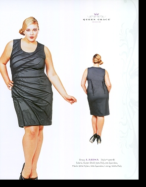 Kelsey Olson modelling the Larisa dress, in the first-ever Queen Grace catalogue; click to enlarge.