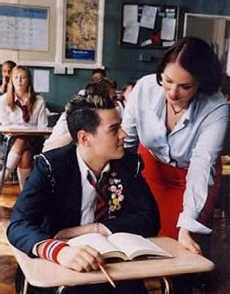 Lorna Roberts in the music video for the song ''What I Go to School For,'' by the British boy band, ''Busted''